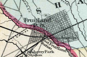 Fruitland, as it appeared on the 1870 Beers Atlas of Burlington County. Planned, but never built.