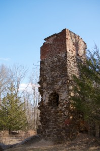 This chimney is all that remains of the Fleming paper mill / Raleigh cotton factory / Wharton cranberry packing house.