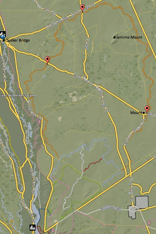 Figure 2: Map indicates other starting points on the trail
